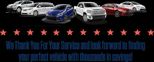 military rebate discounts toyota cars trucks suvs sanford nc. Black Bedroom Furniture Sets. Home Design Ideas